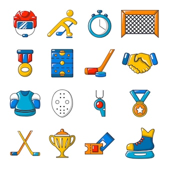 Conjunto de ícones de hóquei