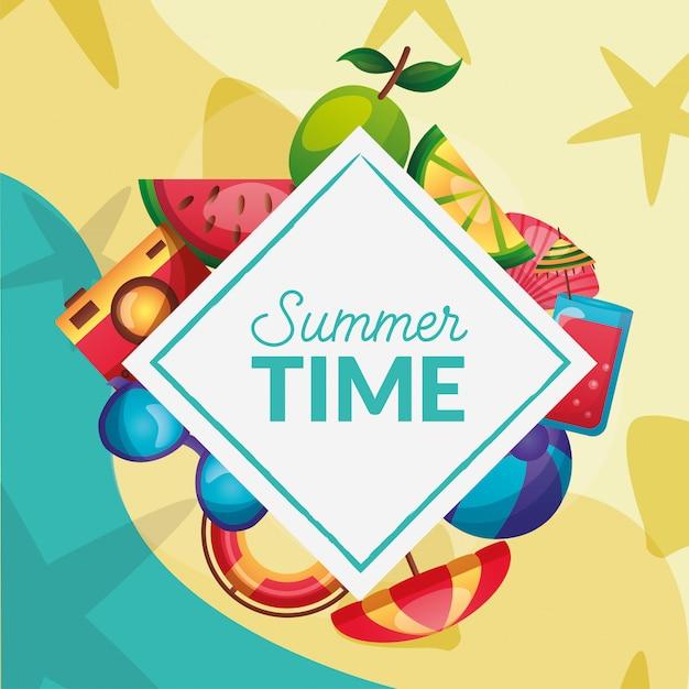 Conjunto de ícones de horário de verão em torno do quadro vector design