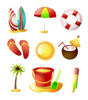 Conjunto de ícones de horário de verão, praia de areia quente, feliz feriado