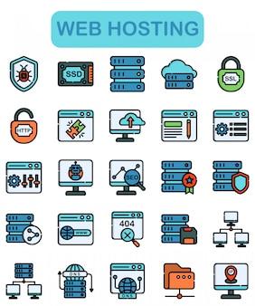 Conjunto de ícones de hospedagem na web, estilo lineal color