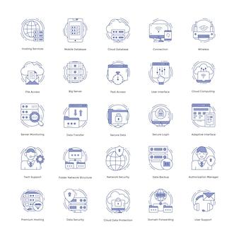 Conjunto de ícones de hospedagem na web