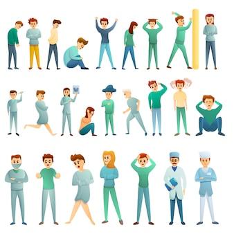 Conjunto de ícones de hospital psiquiátrico, estilo cartoon