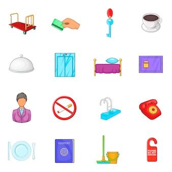 Conjunto de ícones de hotel em estilo cartoon