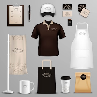 Conjunto de ícones de identidade corporativa do restaurante café