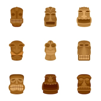 Conjunto de ícones de ídolo antigo, estilo simples