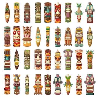 Conjunto de ícones de ídolos de tiki