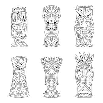 Conjunto de ícones de ídolos tiki.