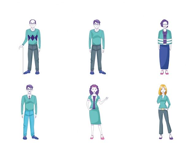 Conjunto de ícones de idosos e mulheres adultas