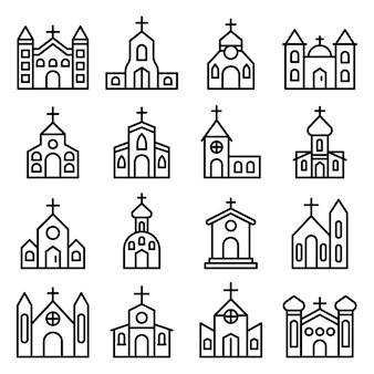 Conjunto de ícones de igreja, estilo de estrutura de tópicos