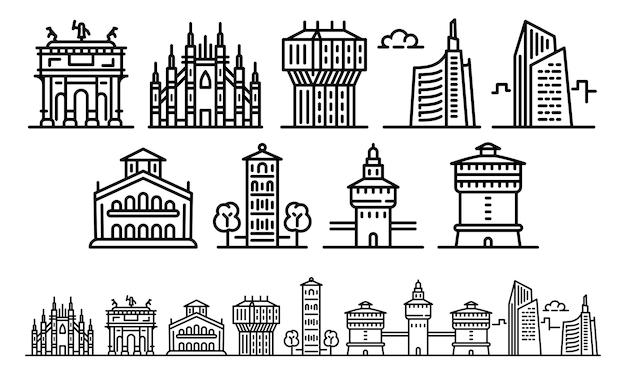 Conjunto de ícones de ilustração de milão, estilo de estrutura de tópicos