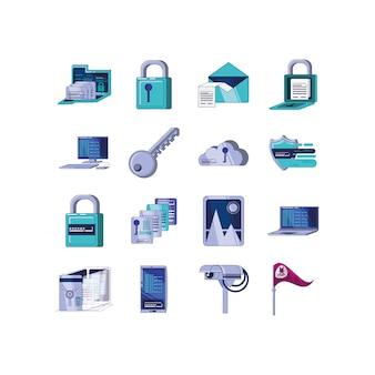 Conjunto de ícones de ilustração do sistema de segurança