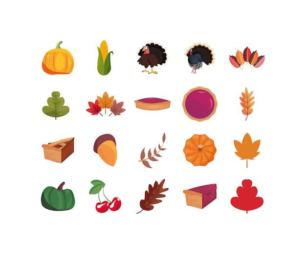 Conjunto de ícones de ilustração feliz dia de ação de graças