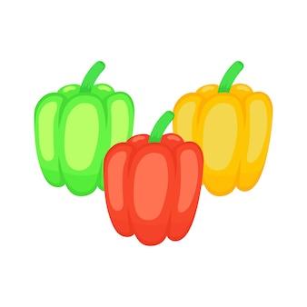 Conjunto de ícones de ilustração plana de pimentões vegetais.