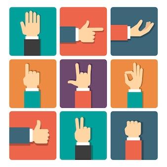 Conjunto de ícones de ilustração vetorial de gestos com as mãos