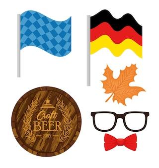Conjunto de ícones de ilustração vetorial para celebração do festival oktoberfest