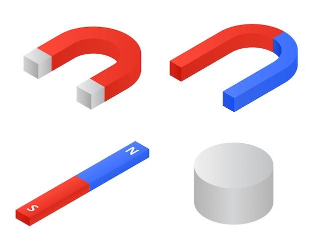 Conjunto de ícones de ímã, estilo isométrico