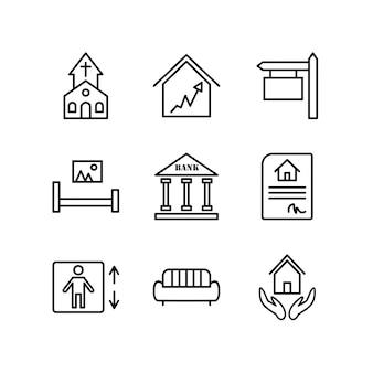 Conjunto de ícones de imóveis para uso pessoal e comercial