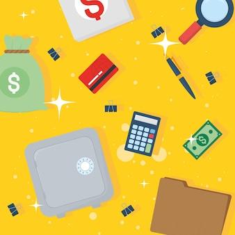 Conjunto de ícones de impostos e dinheiro