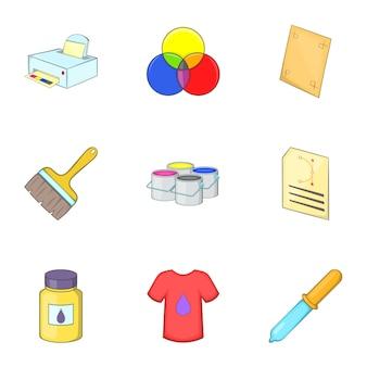 Conjunto de ícones de impressão, estilo cartoon