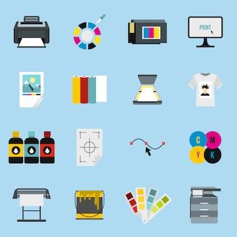 Conjunto de ícones de impressão