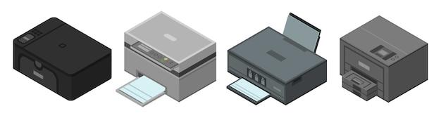 Conjunto de ícones de impressora, estilo isométrico