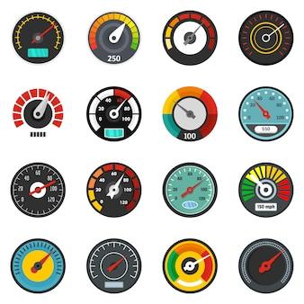 Conjunto de ícones de indicador de nível de velocímetro