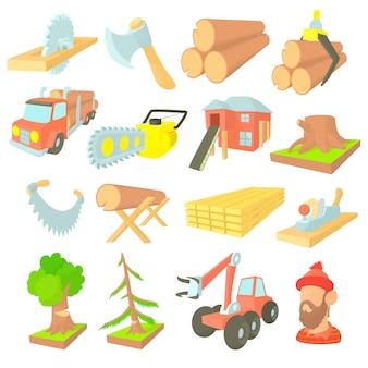 Conjunto de ícones de indústria de madeira em estilo cartoon