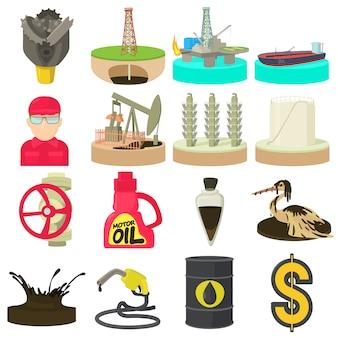 Conjunto de ícones de indústria de petróleo e energia