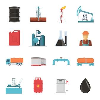 Conjunto de ícones de indústria de petróleo