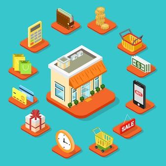 Conjunto de ícones de infográfico de construção de loja em estilo plano d isométrico