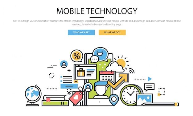 Conjunto de ícones de infográfico de tecnologia móvel