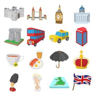 Conjunto de ícones de inglaterra em estilo cartoon isolado