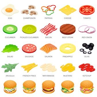 Conjunto de ícones de ingrediente de hambúrguer