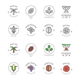 Conjunto de ícones de ingredientes cosméticos orgânicos