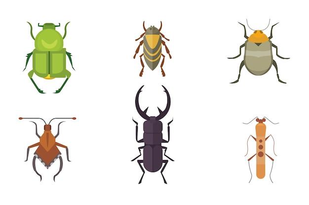 Conjunto de ícones de insetos. coleção natureza besouro e ilustração dos desenhos animados de zoologia. conceito de vida selvagem de ícone de inseto