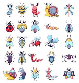 Conjunto de ícones de insetos engraçado bug