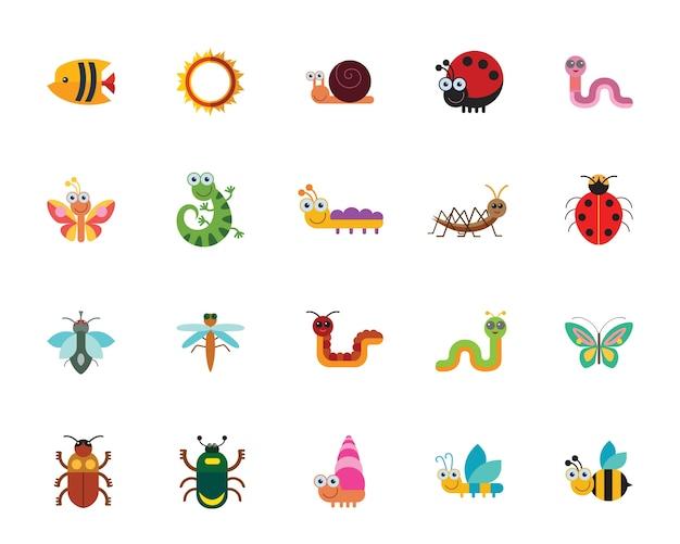 Conjunto de ícones de insetos engraçados