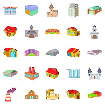 Conjunto de ícones de instalação, estilo cartoon