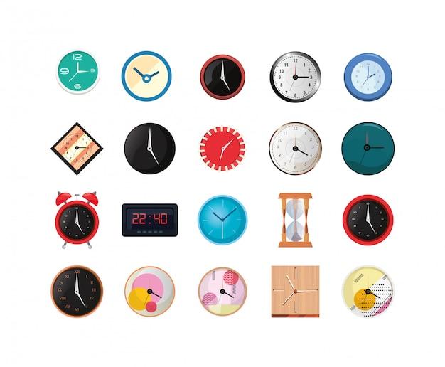 Conjunto de ícones de instrumentos de relógios isolados
