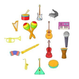 Conjunto de ícones de instrumentos musicais, estilo cartoon