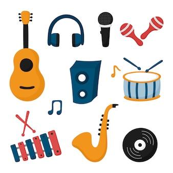 Conjunto de ícones de instrumentos musicais isolado no fundo branco.