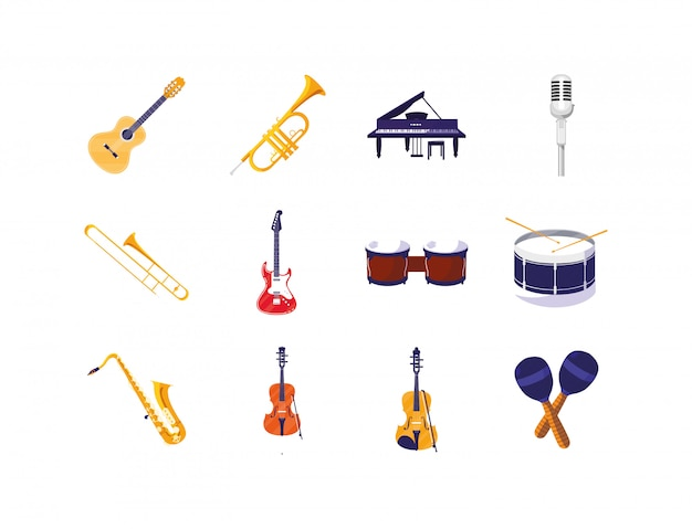 Conjunto de ícones de instrumentos musicais isolados