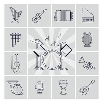 Conjunto de ícones de instrumentos musicais lineares