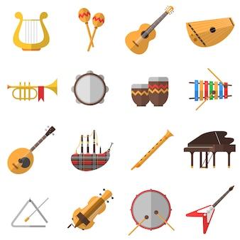 Conjunto de ícones de instrumentos musicais