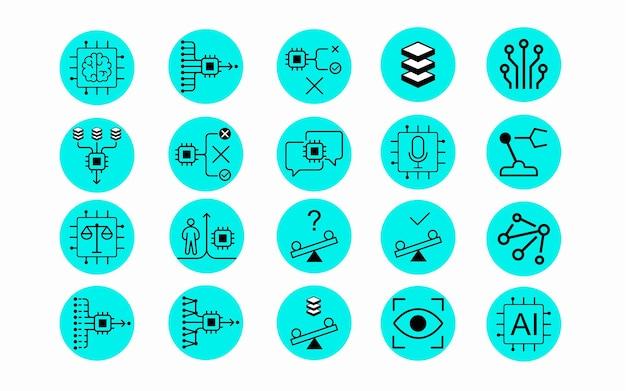 Conjunto de ícones de inteligência artificial tecnologia de ciência de dados