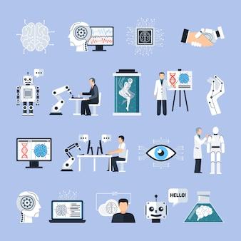 Conjunto de ícones de inteligência artificial