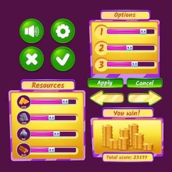 Conjunto de ícones de interface de videogame com barras de progresso e botões
