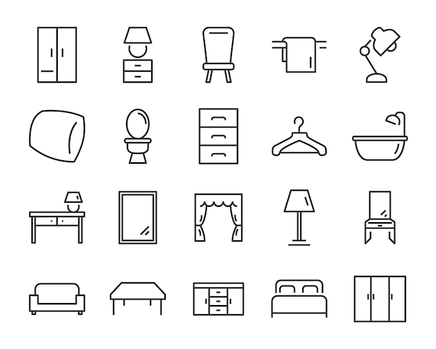 Conjunto de ícones de interiores, como móveis, mesa, sofá, vaso sanitário
