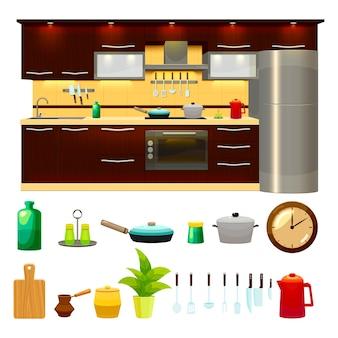 Conjunto de ícones de interiores de cozinha e ilustração