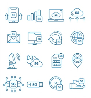 Conjunto de ícones de internet 5g com estilo de estrutura de tópicos